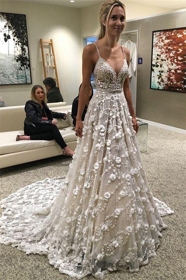 Glamorous Spaghetti-Straps Backless Sexy Flowers Wedding Dress