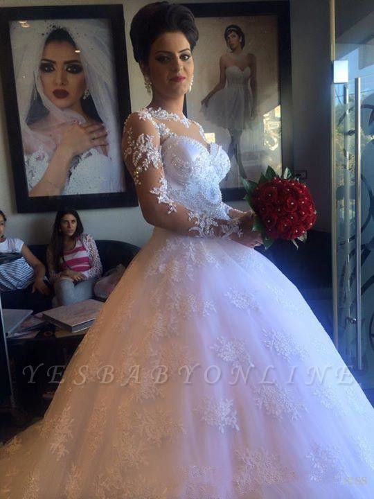 White Exquisite A-line Lace-Appliques Long Sleeves Wedding Dress