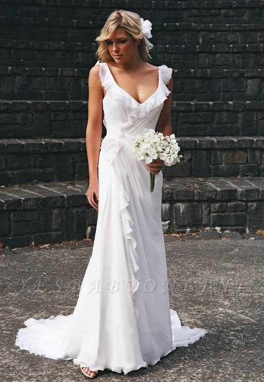Simple Sweetheart Sheath Chiffon Beach Wedding Dresses   Destination Bridal Dresses