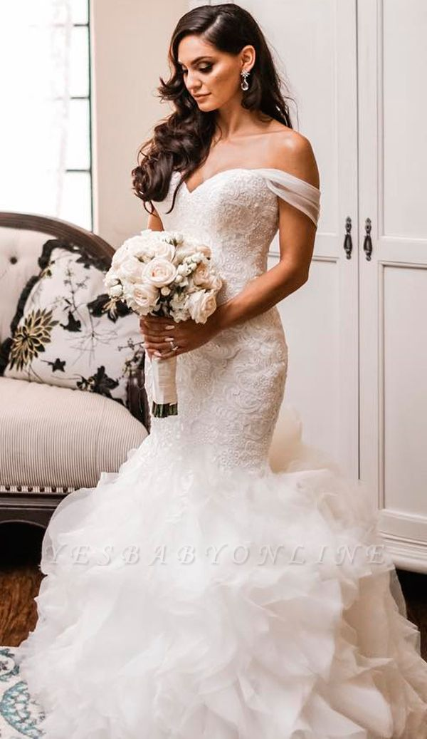 Off The Shoulder Puffy Ruffles Sheath Tulle Lace Wedding Dresses