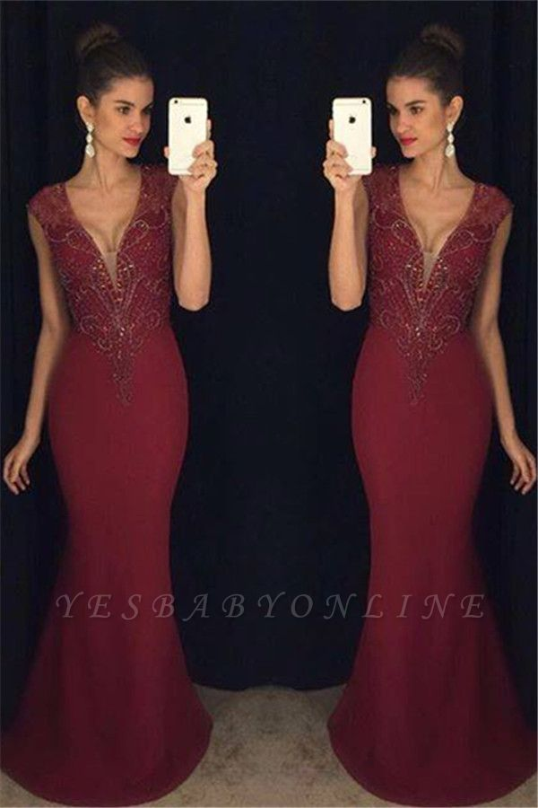 Beadings Mermaid Burgundy Sleeveless Gorgeous Prom Dress