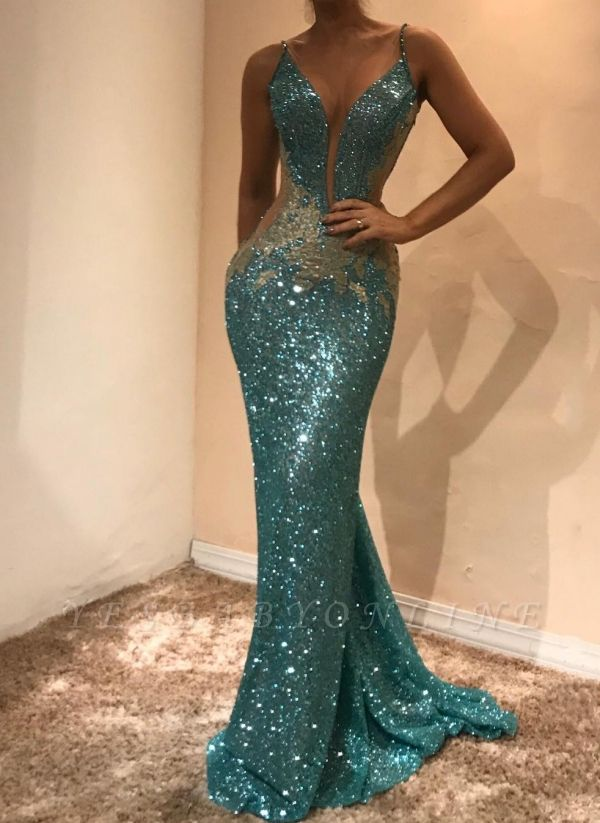 Shiny Sequins Mermaid Evening Dresses | Sexy Spaghetti Straps Open-Back Prom Dresses
