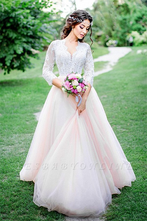 Tulle Outdoor Long Pink Lace Royal Sleeves Wedding Dress