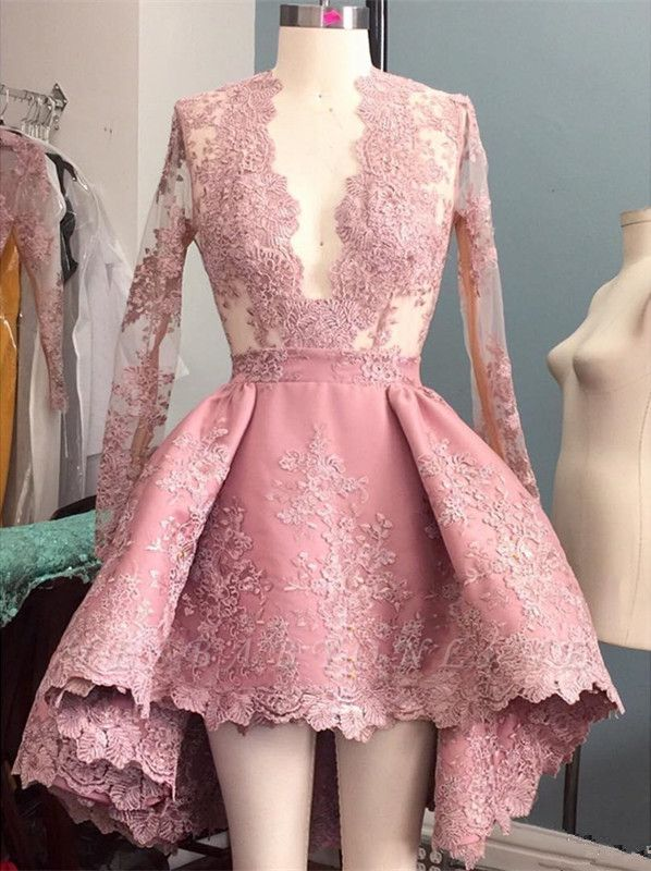 V-Neck Hi-Lo Long-Sleeves Pink Appliques Elegant Prom Dress