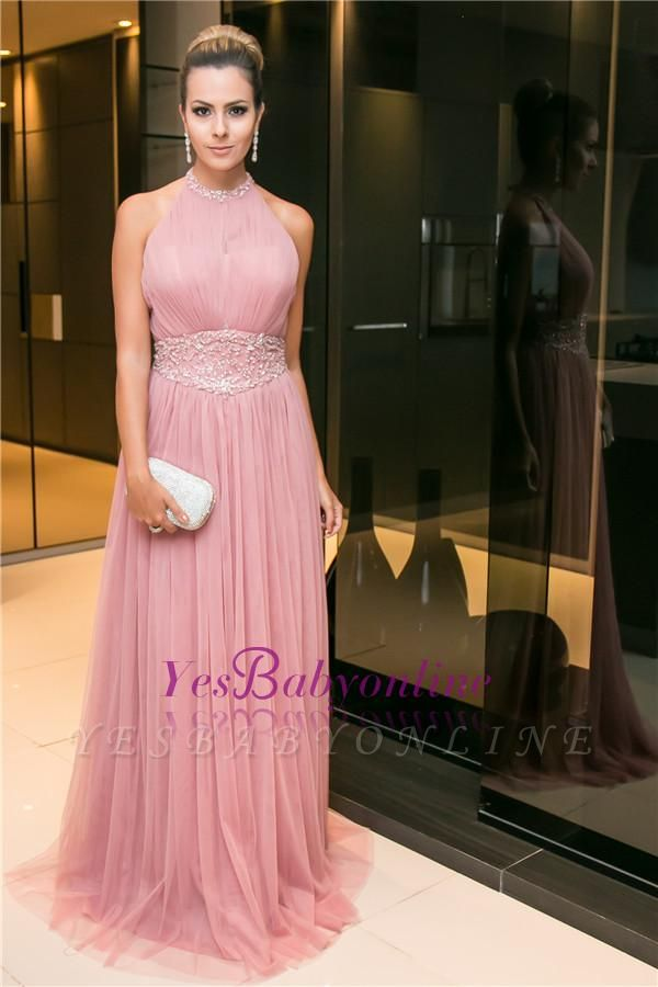 Beaded Open-Back Long Halter Sleeveless Candy-Pink Tulle Evening Dress