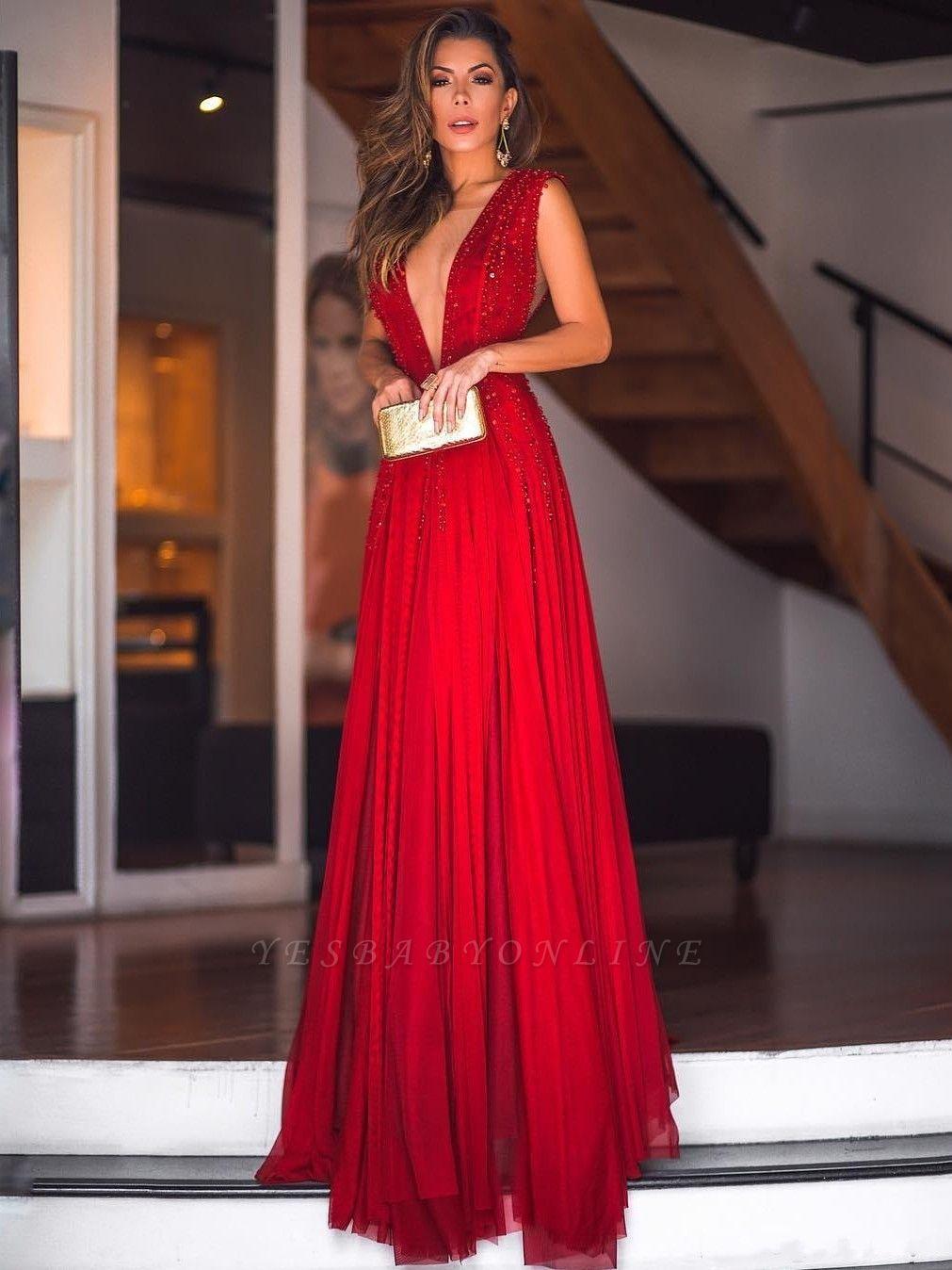 Sexy A-Line Deep V-Neck Beading Evening Dresses | Sleeveless  Long Prom Dresses