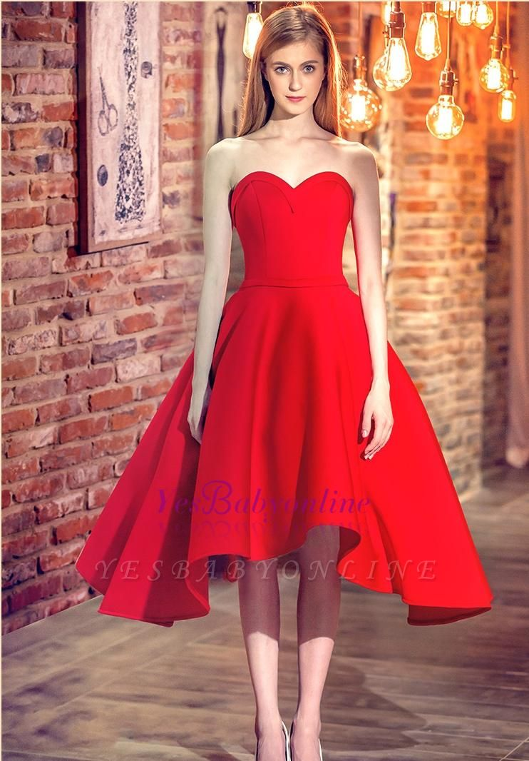Red Cocktail-Dresses Chic Sweetheart-Neck Hi-Lo Short Party Dresses