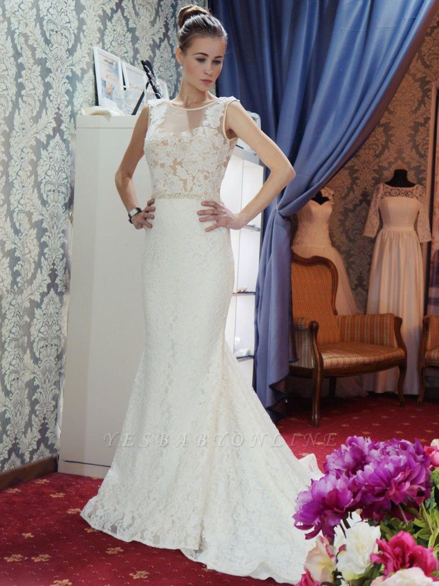 Glamorous Sleeveless Zipper Backless Lace Mermaid Wedding Dress