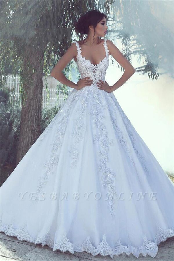 Sexy Straps Sweetheart Applique Lace A Line Wedding Dresses