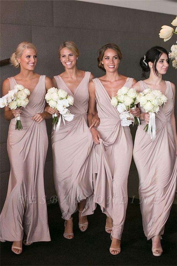 Elegant V-neck Sexy Bridesmaid Dresses Cheap Long Party Dress for Maid of Honor BA7824