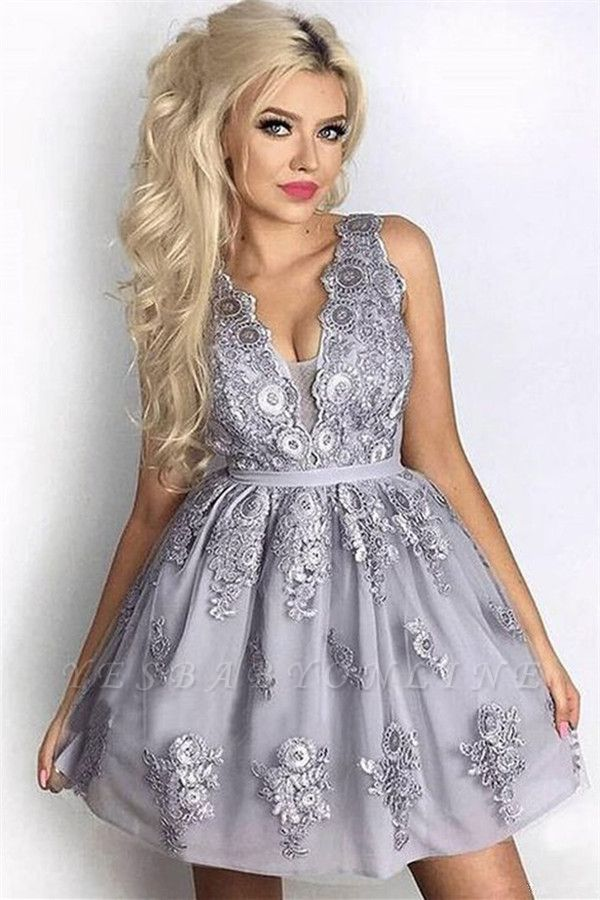Silver A-Line Sleeveless Short Homecoming Dresses | 2019 Lace Homecoming Dress Cheap