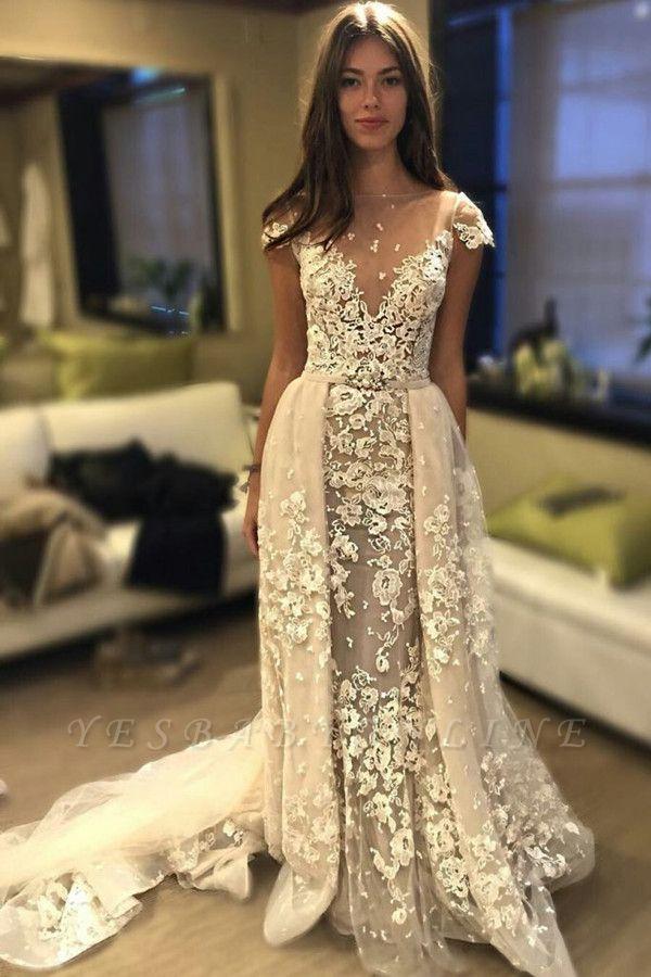 Glamorous Delicate Short Sleeve Lace Appliques Wedding Dress