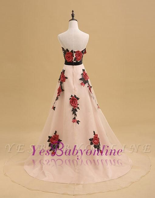 Champagne Long Elegant Sleeveless Flowers Strapless Evening Dress