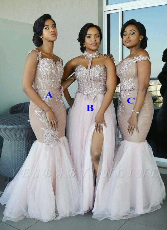 Sexy Pink Tulle Bridesmaid Dresses | Multi Styles Wedding Party Dresses