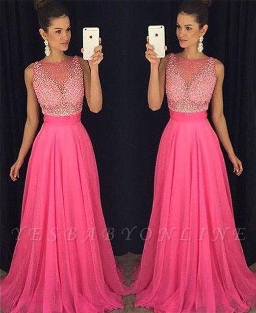 Fuchsia Beadings Sleeveless Newest  A-Line Prom Dress