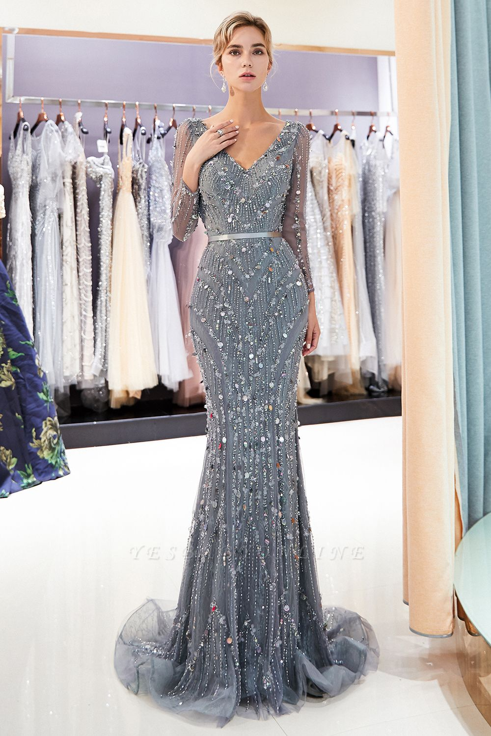Mermaid  Sequins V-neck Long-Sleeves Prom Dress with Sash | 2019 Evening Dress