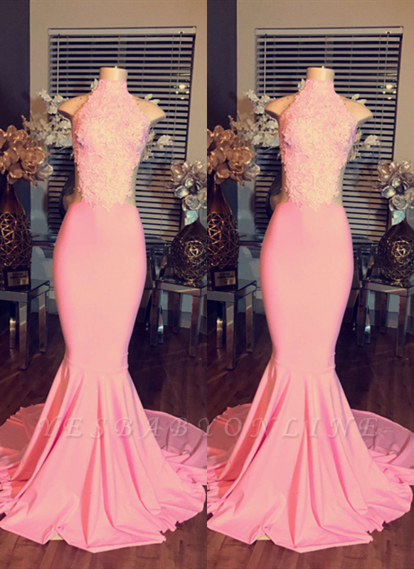 2019 Pink Mermaid Prom Dresses High Neck Sleeveless Elegant Evening Gowns