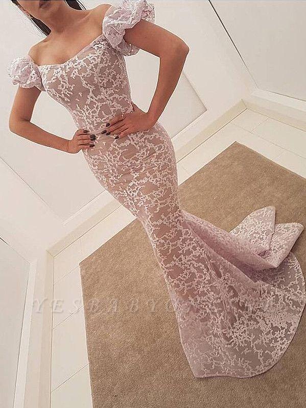 Elegant Lace Mermaid Evening Dresses | Juliet Sleeves Long Prom Dresses