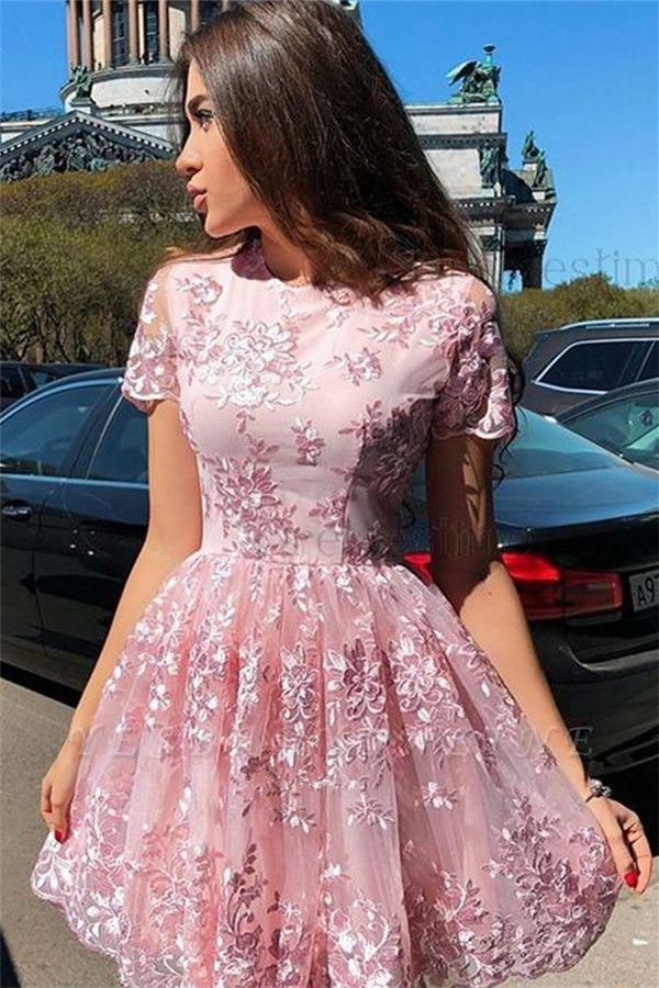 Elegant Pink Short Sleeves Homecoming Dresses Cheap | Lace Appliques Short Hoco Dresses 2019