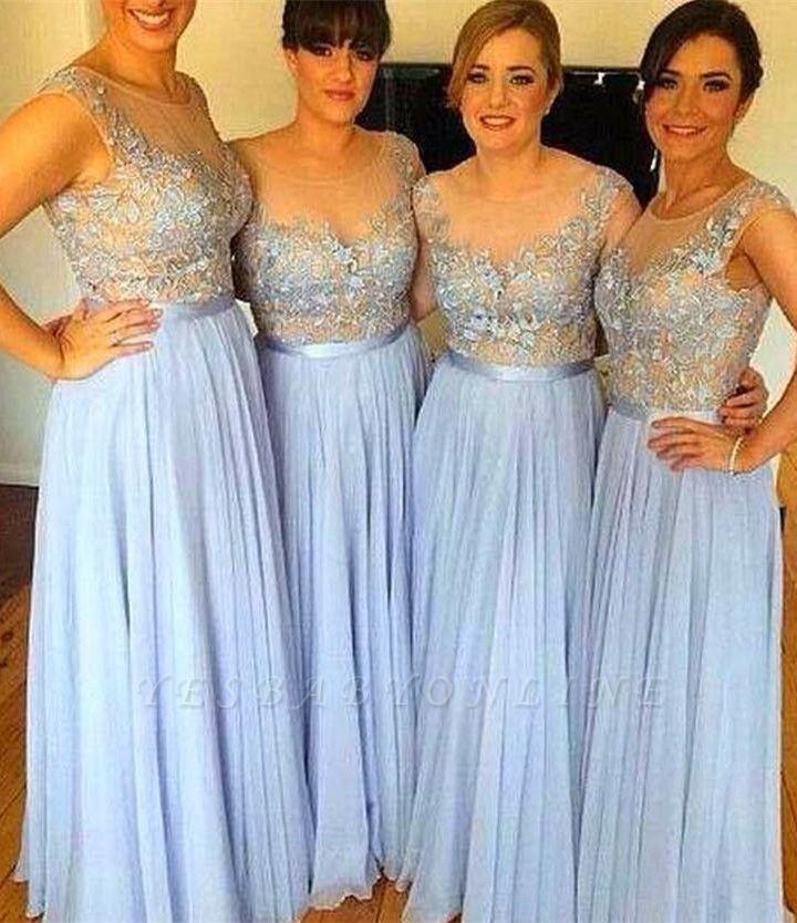 Popular Sleeveless Appliques A-Line Chiffon Floor-Length Bridesmaid Dress