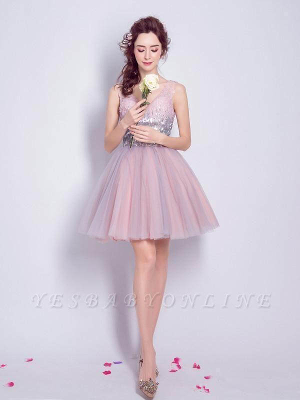 A Line Sequins Homecoming Dresses | V-Neck Lace-Up Short Prom Dress