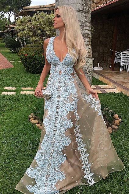 Lace V-neck Tulle Long Floor-Length Amazing Prom Dress