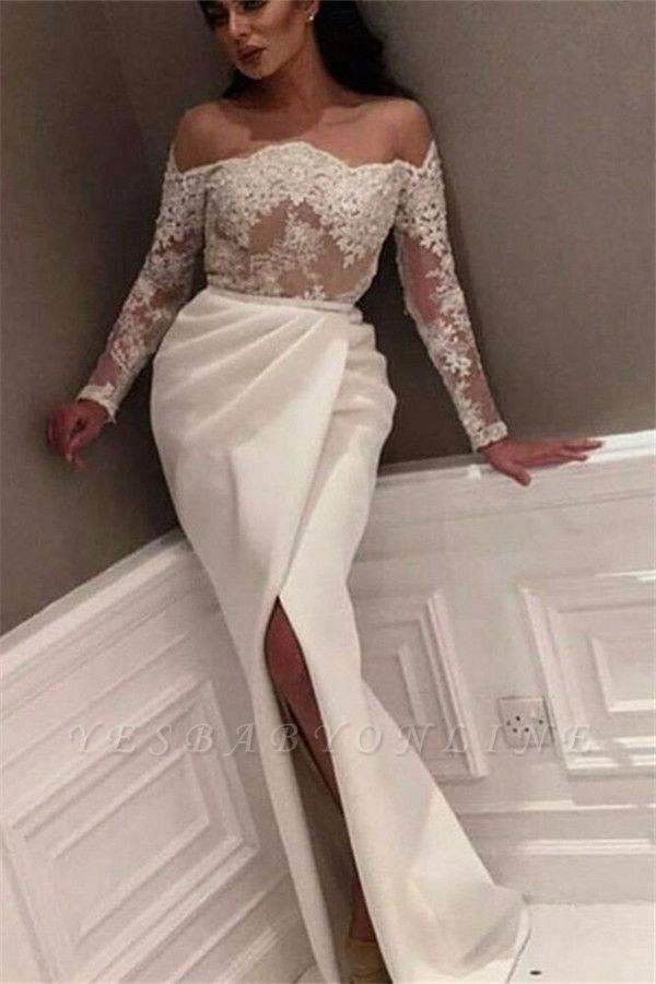 White Off-the-Shoulder Prom Dresses | Sexy Side-Slit Evening Gowns