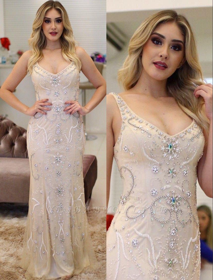 Brilliant Crystals Straps Mermaid Beading Prom Dresses