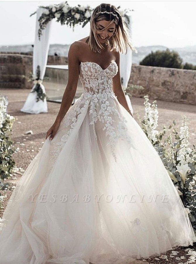 Strapless Sweetheart Lace Wedding Dresses For Destination Ceremony