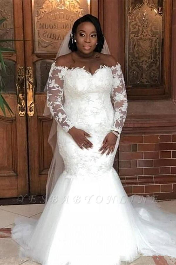 Plus Size Long Sleeve Applique Pearls Mermaid Wedding Dresses