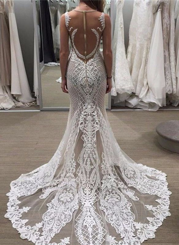 Sleeveless Lace Zipper Exquisite Illusion Detachable-Train Wedding Dress