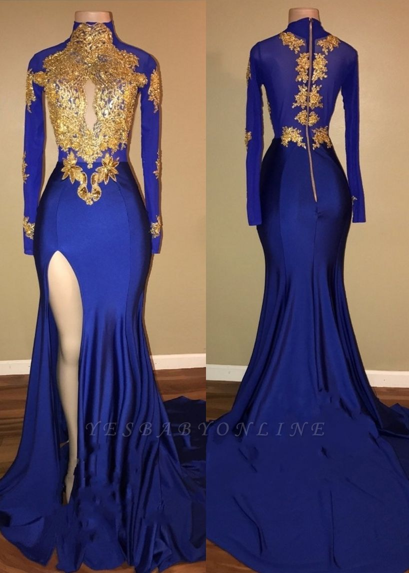 Gorgeous Royal Blue Prom Dresses | Gold Appliques Side Slit Mermaid Evening Dresses