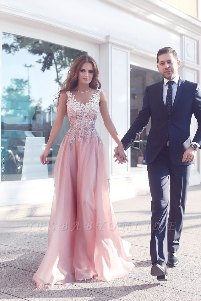 Pink Sleeveless Appliques  Floor-Length Evening Gowns