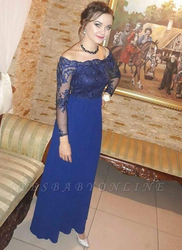 Royal-Blue  Prom Dresses | Long-Sleeves A-Line Evening Dresses