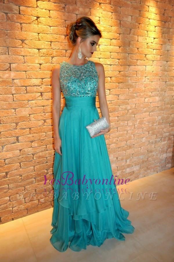Ruffles Elegant Floor-length Tired Scoop Chiffon Sleeveless A-line Evening Dress