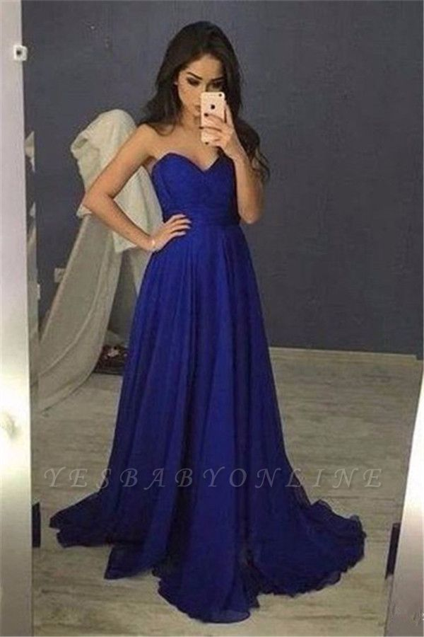 2019 Blue Sweetheart A-Line  Long Prom Dresses
