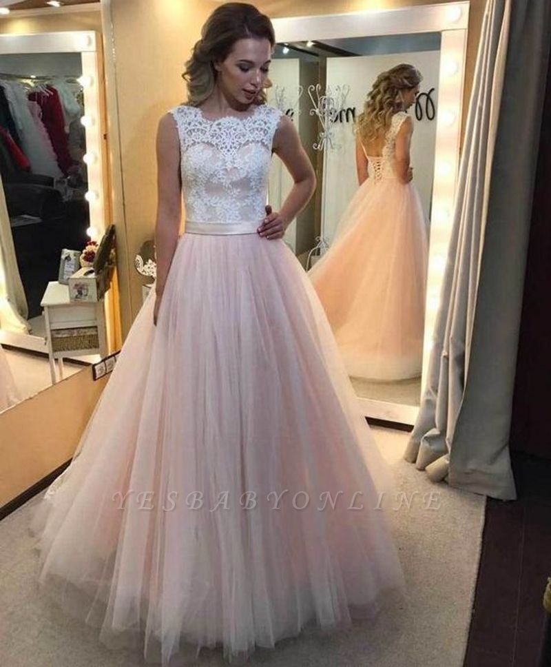 Lace-up Tulle Sleeveless Glamorous Lace A-Line Wedding Dress