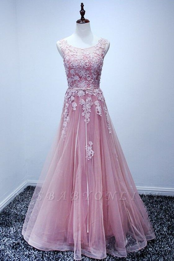 High-Neck Floor-Length Gorgeous Lace A-Line Pink Prom Dresses