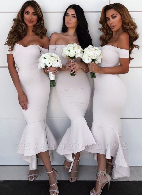 Modern Hi-Lo Mermaid Bridesmaid Dresses | Chic Simple Sleeveless Wedding Party Dresses