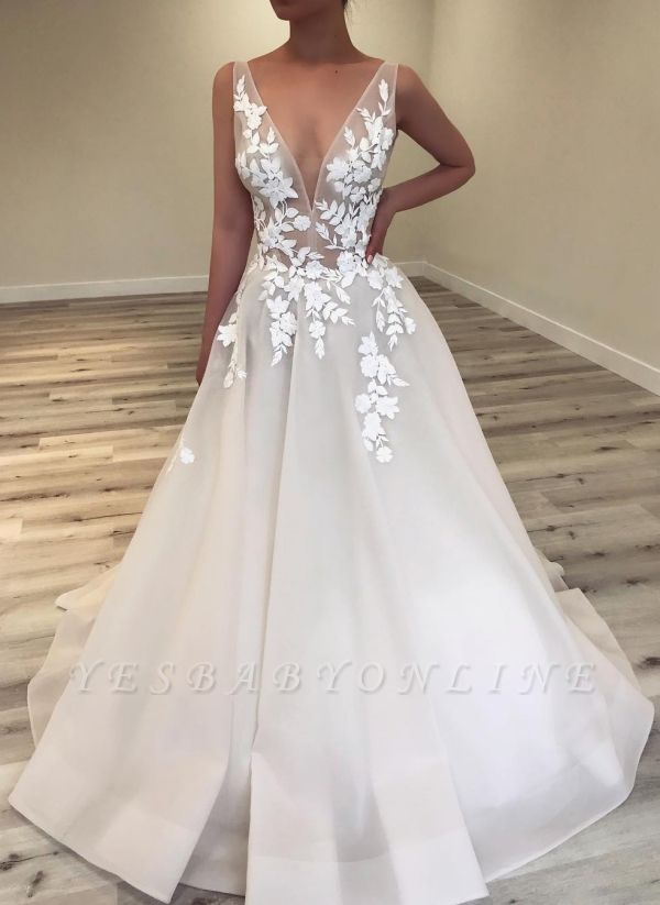 Sexy A-Line V-Neck Wedding Dresses | Sleeveless Lace Applique Flower Bridal Gowns