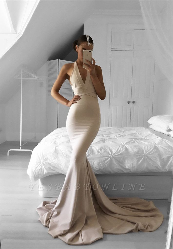Halter Mermaid Long Prom Dress Nude V-Neck Sleeveless Evening Gowns
