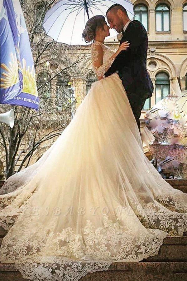 Glamorous Detachable-Skirt Tulle Appliques V-Neck Long Sleevess Wedding Dress