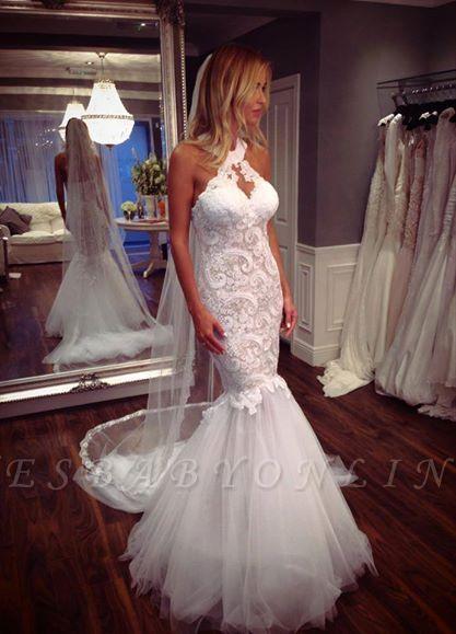 Tulle Glamorous Halter Sleeveless Mermaid Lace Wedding Dress