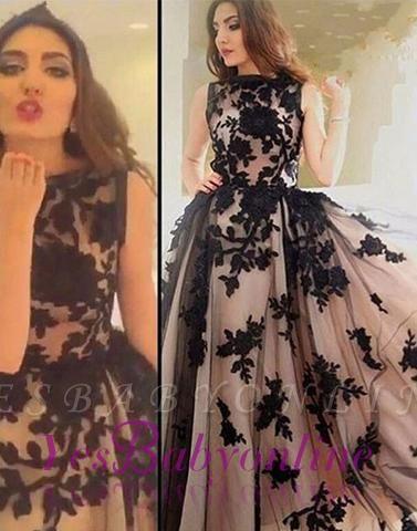 Apppliques Scoop-Neckline Ball-Gown Elegant Sweep-train Prom Dress