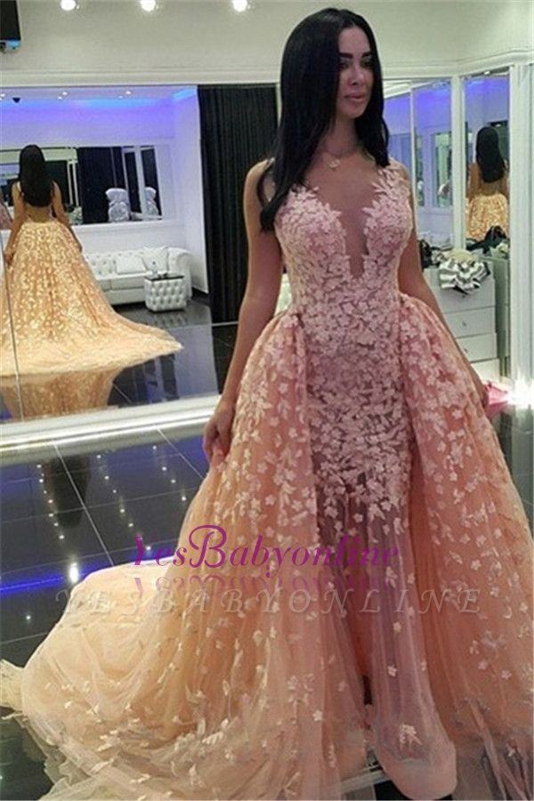 Puffy Sexy Pink Mermaid Detachable-Train Dubai-Muslim Evening Dresses