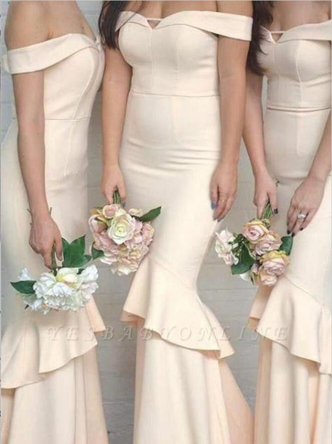 Sleeves Short Off-The-Shoulder Mermaid Elegant Ruffles Bridesmaid Dresses