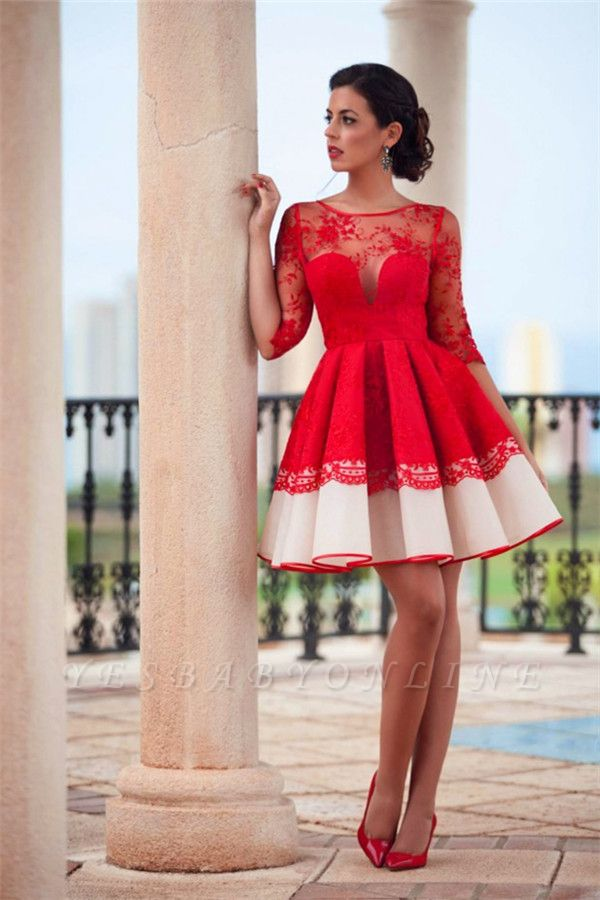 Lace Half Sleeve Short Homecoming Dress Sheer Back Sexy Evening Dress BA3268