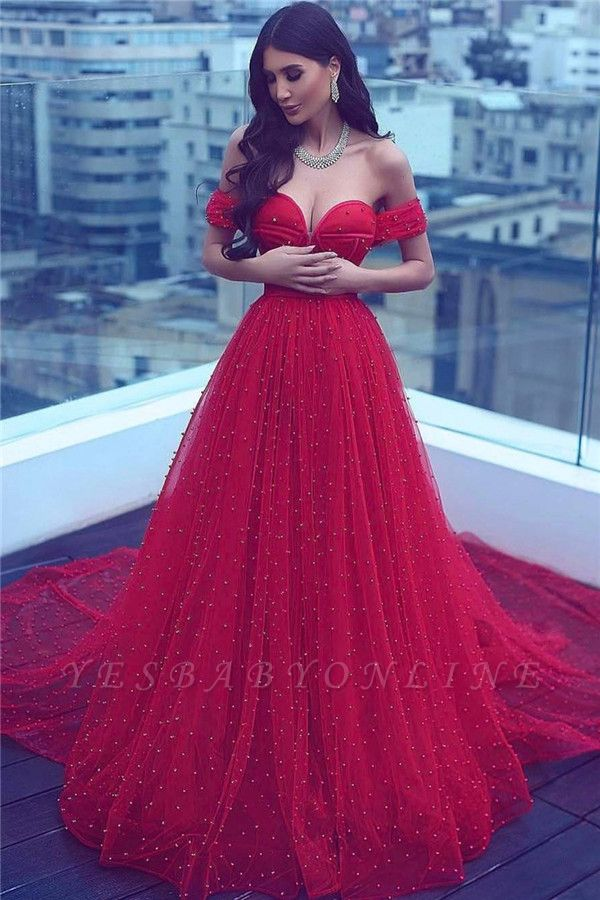Court-Train Red Sweetheart A-line Off-the-shoulder Beading Amazing Evening Dress