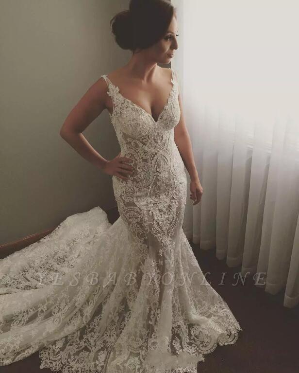 Geogrous Mermaid Lace Wedding Dresses   V-Neck Sleeveless Bridal Gowns