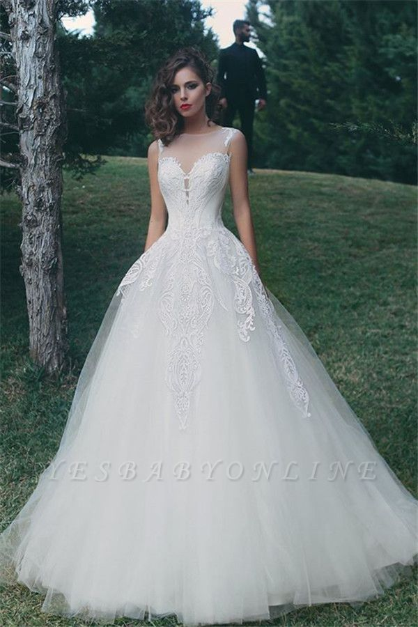 Glamorous Sleeveless A-Line Tulle Appliques Wedding Dress